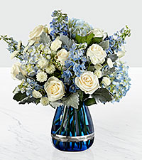 The FTD ® Faithful Guardian™ Bouquet - Blue & White
