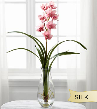 Smithsonian Silk Mauve Cymbidium Orchid in Glass Vase