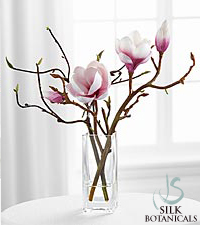 Jane Seymour Silk Botanicals Fuchsia Tulip Magnolias in Square Glass Vase