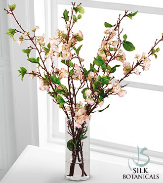 Jane Seymour Silk Botanicals Cherry Blossoms in Glass Vase