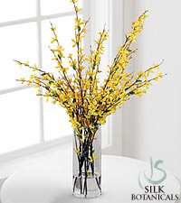 Jane Seymour Silk Botanicals Forsythia Branches in Glass Vase