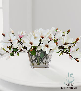 Jane Seymour Silk Botanicals Magnolia Blossoms in Glass Vase
