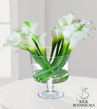 Jane Seymour Silk Botanicals Calla Lilies in Glass Pedestal Bowl