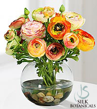 Jane Seymour Silk Botanicals Assorted Ranunculus Bouquet in Glass Bubble Bowl Vase