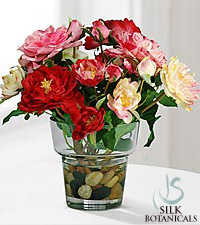 Jane Seymour Silk Botanicals English Ruffle Rose Bouquet in Glass Vase