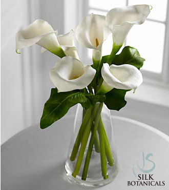Jane Seymour Silk Botanicals White Calla Lilies in Glass Vase