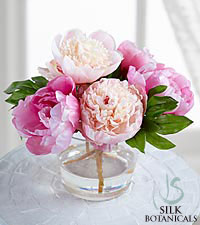 Jane Seymour Silk Botanicals Mixed Pink Peonies in Glass Vase