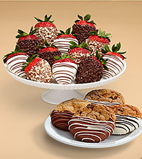 4 Dipped Cookies & Full Dozen Fancy Strawberries