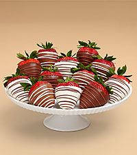 Full Dozen Gourmet Dipped Swizzled Strawberries