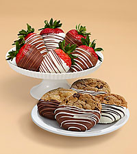 4 Dipped Cookies & Half Dozen Swizzled Strawberries