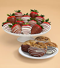 4 Dipped Cookies & Full Dozen Swizzled Strawberries