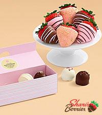 4 Mother 's Day Cake Truffles & 6 Cheesecake Strawberries
