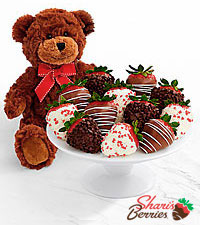 Teddy Bear & Full Dozen Valentine 's Strawberries