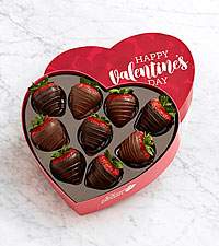 9 Belgian Chocolate Strawberries in a Valentine 's Heart Box
