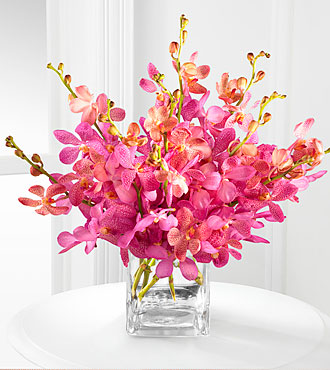 Smithsonian Pink Champagne Mokara Orchid Bouquet - 10 Stems - VASE INCLUDED