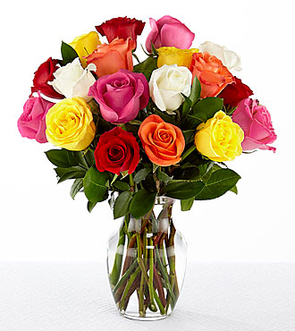 18 Long Stem Mixed Roses - VASE INCLUDED