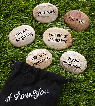 I Love You Because Inspirational Stone Set