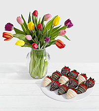15 Rainbow Tulips with 12 Birthday Strawberries