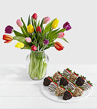 15 Rainbow Tulips with12 Fancy Strawberries