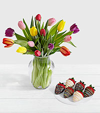 15 Rainbow Tulips with 6 Birthday Strawberries