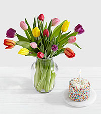 15 Rainbow Tulips with Petite Birthday Cake