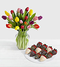 20 Rainbow Tulips with 12 Birthday Strawberries