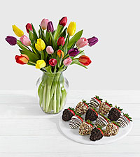 20 Rainbow Tulips with12 Fancy Strawberries