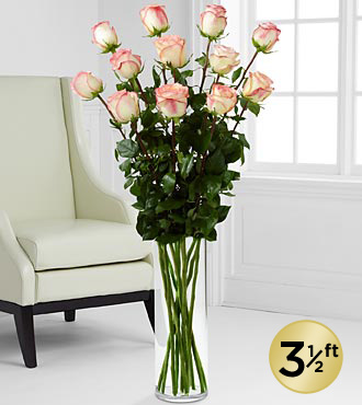 Blushing Beauty Ultimate Rose Bouquet - 12 Stems 3.5-Foot Roses - VASE INCLUDED