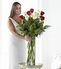 Christmas Wonders Ultimate Rose Bouquet - 12 Stems, 3-Foot Roses - VASE INCLUDED
