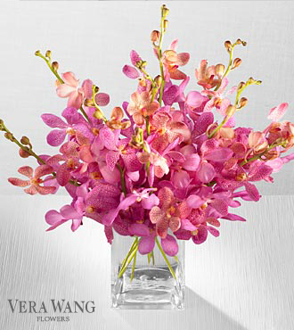Vera Wang Pink Sapphire Orchid Bouquet - 10 Stems - VASE INCLUDED