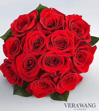 Vera Wang Red Rose Bouquet - 12 Stems, No Vase
