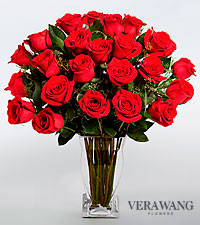 Vera Wang Red Rose Bouquet - 24 Stems Premium Roses - VASE INCLUDED
