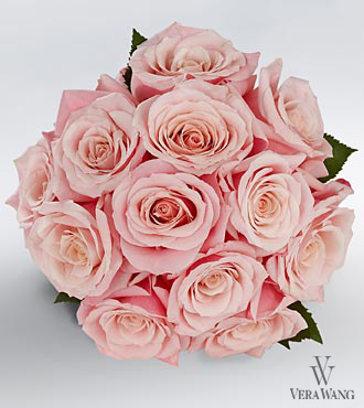 Vera Wang Pink Rose Bouquet - 12 Stems Premium Roses - No Vase
