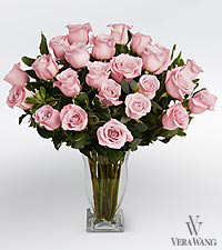 Vera Wang Pink Rose Bouquet - 24 Stems Premium Roses - VASE INCLUDED
