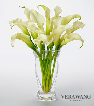 Vera Wang White Calla Lily Bouquet - 15 Stems - VASE INCLUDED