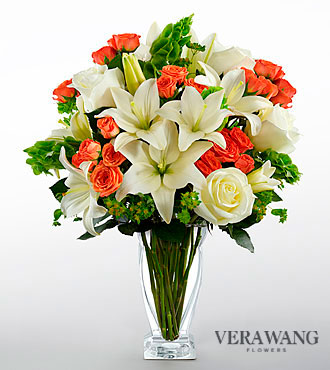 Vera Wang Sunset Memories Bouquet  18 Stems - VASE INCLUDED