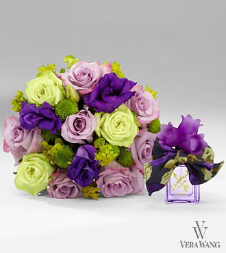 Vera Wang Floral Rush Rose Bouquet with Lovestruck Perfume - 14 Stems, No Vase