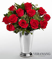 Vera Wang Love is the Way Valentine Rose Bouquet - 12 Stems - VASE INCLUDED