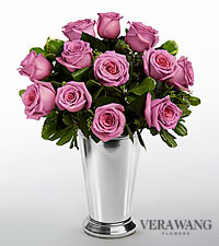 Vera Wang Lavender Rose Bouquet - 12 Stems Premium Roses - VASE INCLUDED