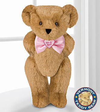 Vermont Teddy Bear 15-inch Its a Girl! Bowtie Bear
