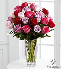 The FTD&reg; Captivating Color&trade; Rose Bouquet by Vera Wang - VASE INCLUDED