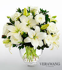 The FTD ® White Elegance™ Bouquet by Vera Wang - CUT GLASS VASE INCLUDED