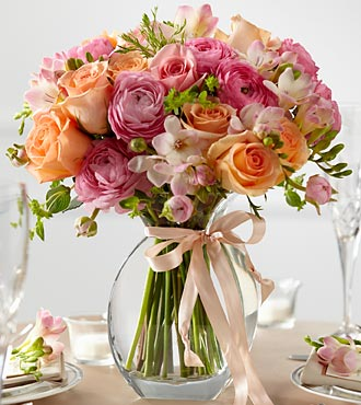 The FTD&reg; Peach Silk&trade; Fresh Arrangement