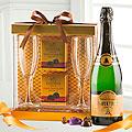 Champagne, Flutes and Godiva Truffles Gift