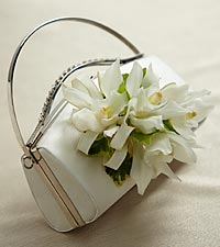 The FTD&reg; White Purse D&eacute;cor