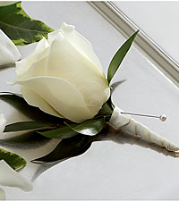 The FTD &reg; White Rose Boutonniere