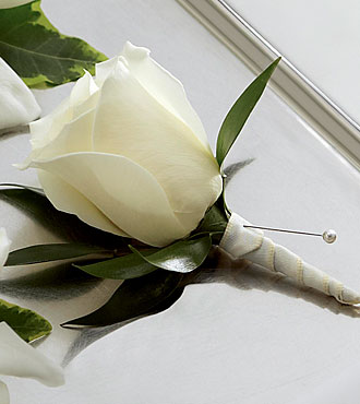 The FTD&reg; White Rose Boutonniere