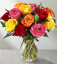 Mixed 1 Dozen Long Stem Roses - VASE INCLUDED