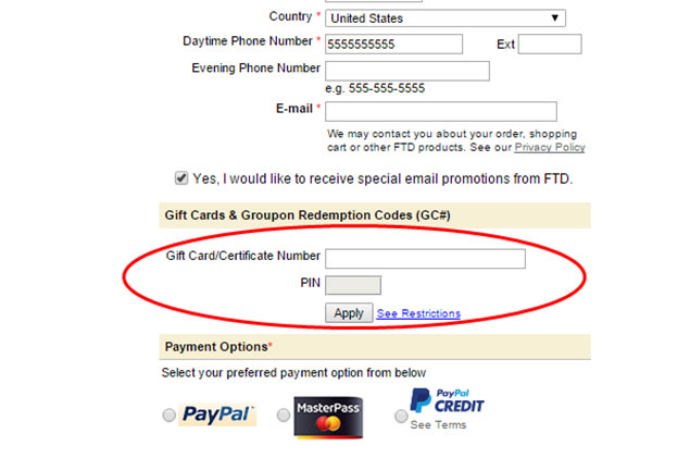 DETAILED INSTRUCTIONS ON REDEEMING YOUR FTD GROUPON VOUCHER: