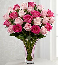 The FTD® Mixed Pink Rose Bouquet - 24 Stems - VASE INCLUDED